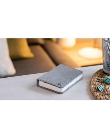 Sivá malá LED stolová lampa v tvare knihy Gingko Booklight
