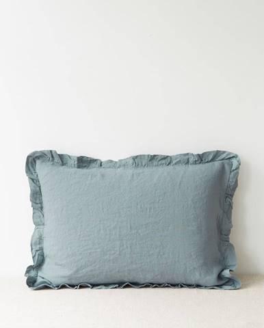 Svetlomodrá ľanová obliečka na vankúš s riaseným lemom Linen Tales, 50 x 60 cm