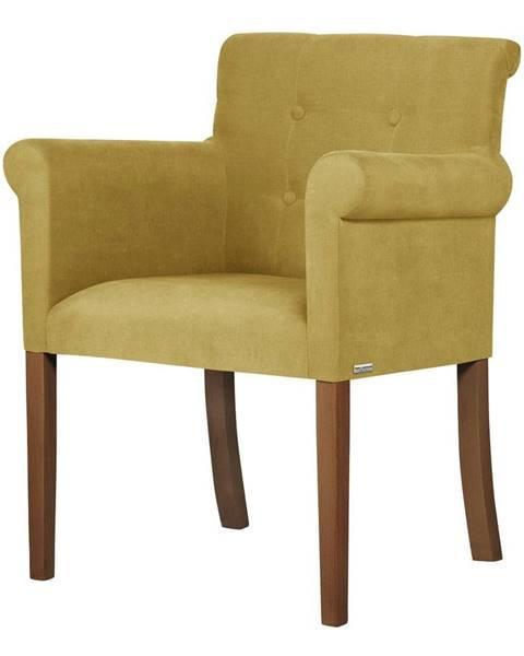Ted Lapidus Maison Žltá stolička s tmavohnedými nohami Ted Lapidus Maison Flacon