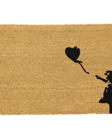Rohožka z prírodného kokosového vlákna Artsy Doormats Girl with a Balloon Graffiti, 40 x 60 cm