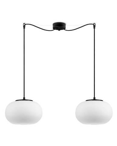 Biele dvojramenné závesné svietidlo s čiernou objímkou Sotto Luce DOSEI