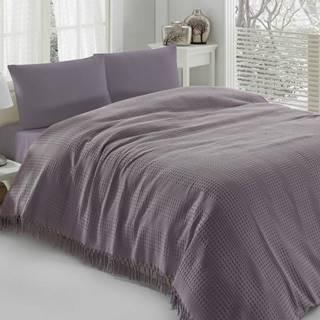 Fialová bavlnená prikrývka na dvojlôžko Pique, 220×240 cm