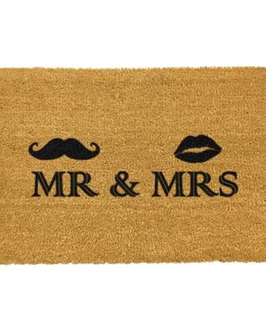 Rohožka z prírodného kokosového vlákna Artsy Doormats Mr and Mrs, 40 x 60 cm