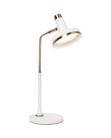 Biela stolová lampa s LED svetlom a prvkami v zlatej farbe SULION Bang
