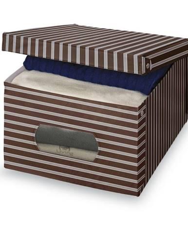Hnedo-sivý úložný box Domopak Living, 24×50cm