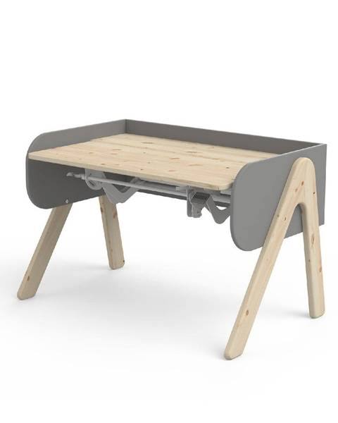 Flexa Sivo-hnedý písací stôl z borovicového dreva s nastaviteľnou výškou Flexa Woody