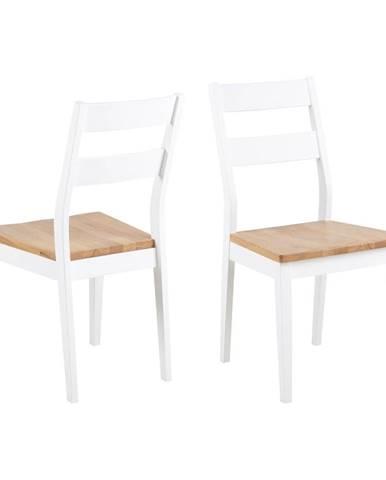 Hnedo-biela jedálenská stolička z kaučukového a dubového dreva Actona Derri