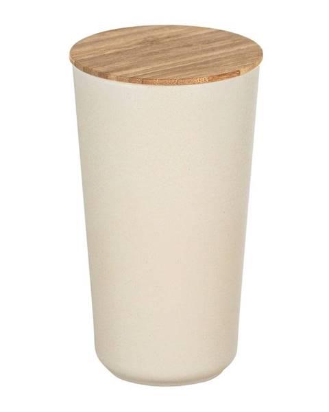 Wenko Béžový úložný box s bambusovým vekom Wenko Bondy, 950 ml