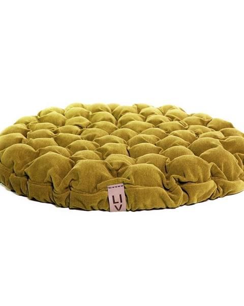 Linda Vrňáková Horčicovožltý sedací vankúšik s masážnymi loptičkami Linda Vrňáková Bloom, Ø 75 cm