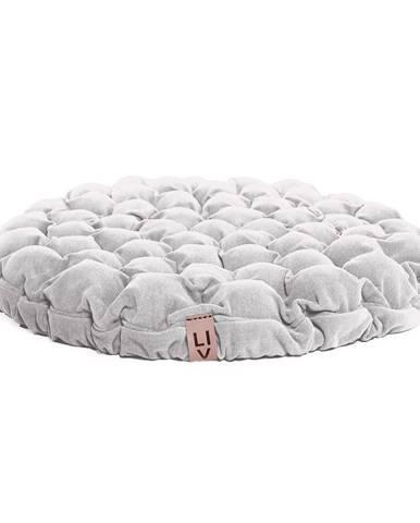 Biely sedací vankúšik s masážnymi loptičkami Linda Vrňáková Bloom, ø 75 cm
