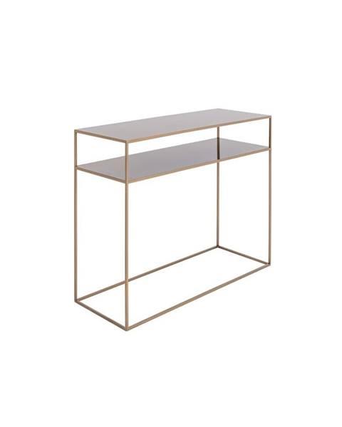 Custom Form Konzolový kovový stôl v zlatej farbe s policou Custom Form Tensio, 100 x 35 cm