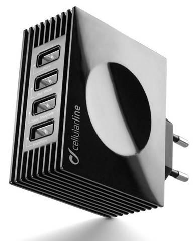 Nabíjačka do siete CellularLine Quad Ultra 4 x USB, 21W/4.2 A