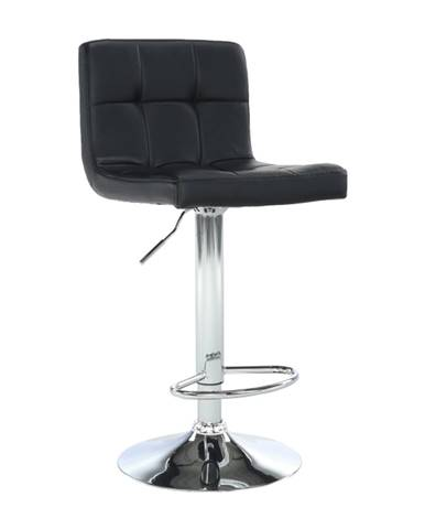 Barová stolička čierna ekokoža/chróm KANDY NEW