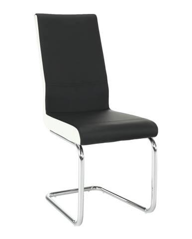 Jedálenská stolička ekokoža čierna biela/chróm NEANA
