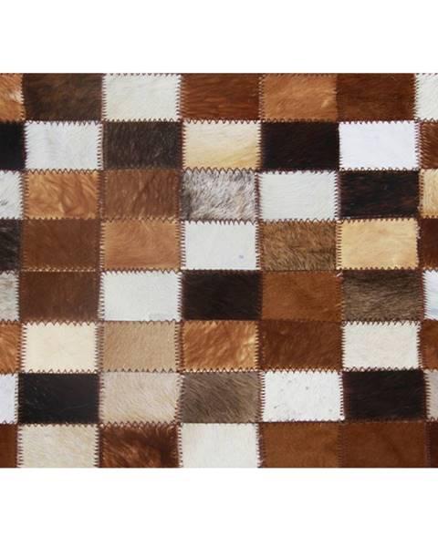 Tempo Kondela Luxusný kožený koberec  hnedá/čierna/biela patchwork 168x240 KOŽA TYP 3