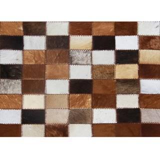 Luxusný kožený koberec  hnedá/čierna/biela patchwork 168x240 KOŽA TYP 3