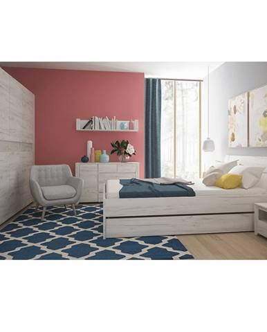 Spálňový komplet (skriňa posteľ 160x200 2x nočný stolík) biela craft ANGEL