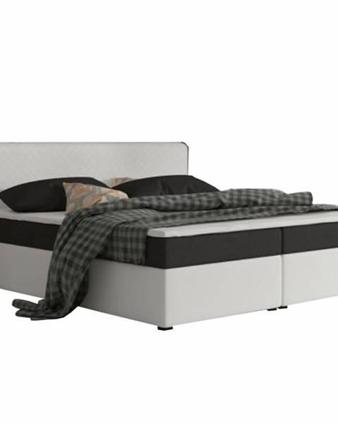 Tempo Kondela Komfortná posteľ čierna látka/biela ekokoža 160x200 NOVARA MEGAKOMFORT