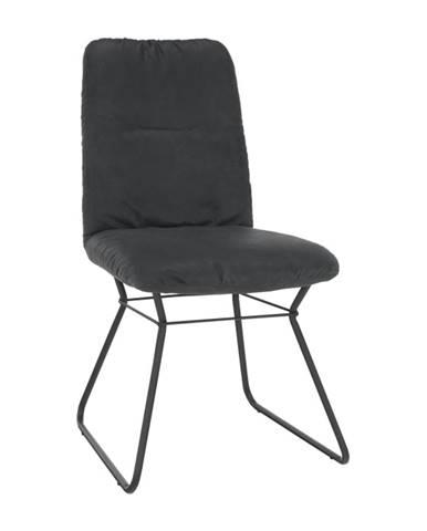 Stolička čierna látka s efektom brúsenej kože/čierny kov ALMIRA