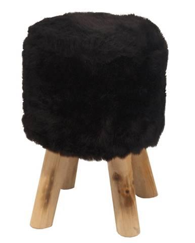Taburet čierna kožušina/borovica ALPIA
