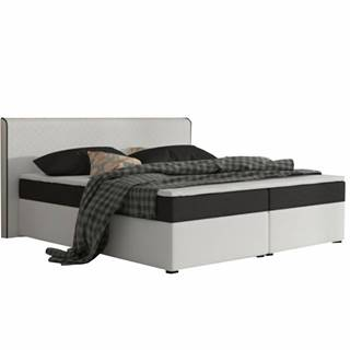 Komfortná posteľ čierna látka/biela ekokoža 160x200 NOVARA MEGAKOMFORT
