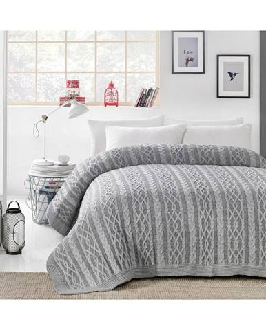 Sivá prikrývka cez posteľ Knit, 220 x 240 cm