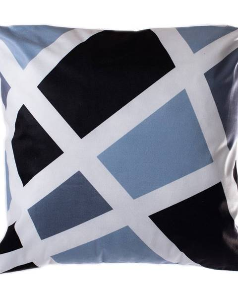 JAHU Modro-sivý vankúš JAHU Geometry Grid, 45 x 45 cm