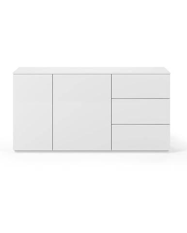 Biela komoda s matným povrchom s 2 dverami a 3 zásuvkami TemaHome Join, šírka 160 cm