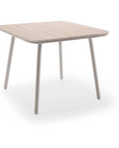 Jedálenský stôl z jaseňového dreva so sivými nohami EMKO Naïve