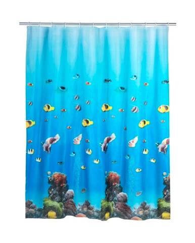 Modrý sprchový záves Wenko Ocean, 180×200 cm
