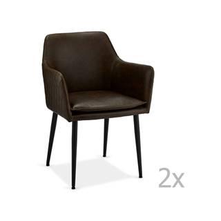 Sada 2 tmavohnedých stoličiek FurnhoShiva
