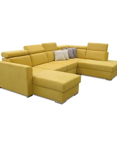 Kondela Luxusná sedacia súprava žltá/hnedé vankúšiky pravá MARIETA U