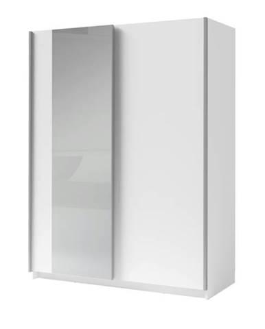 Šatníková skriňa so zrkadlom SPLIT biela, šírka 180 cm