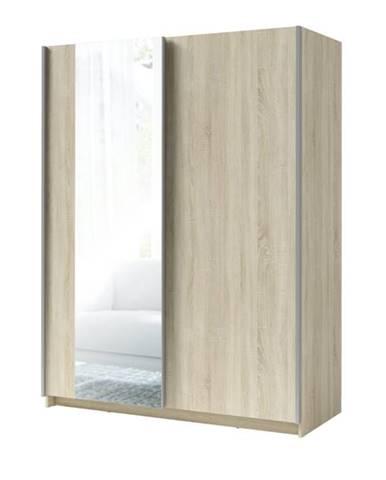 Šatníková skriňa so zrkadlom SPLIT dub sonoma, šírka 150 cm