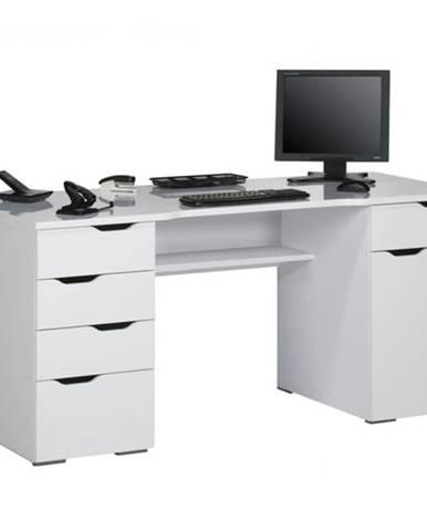 Počítačový stôl LOKI biela vysoký lesk