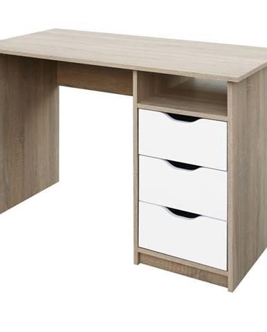 Písací stôl ROBI dub sonoma/biela
