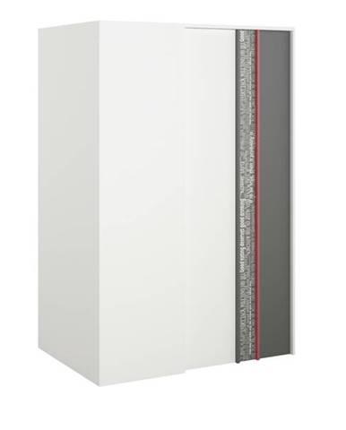 Rohová šatníková skriňa PHILOSOPHY PH-00P biela/grafit, pravá