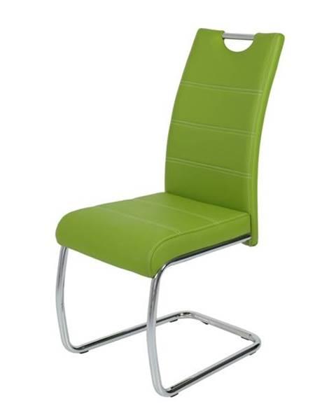 Sconto Jedálenská stolička FLORA S zelená, syntetická koža