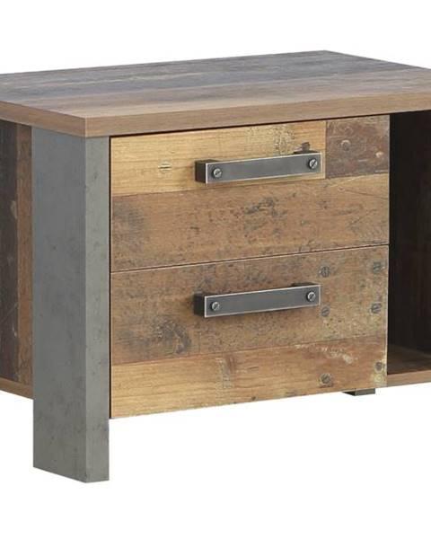 Sconto Nočný stolík CLIF staré drevo/betón