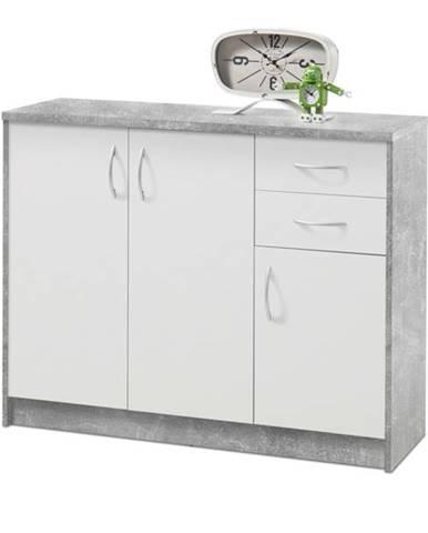 Komoda OPTIMUS 38-005 beton/biela