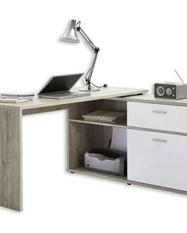 Písací stôl DIEGO 1 dub pieskový/biela vysoký lesk